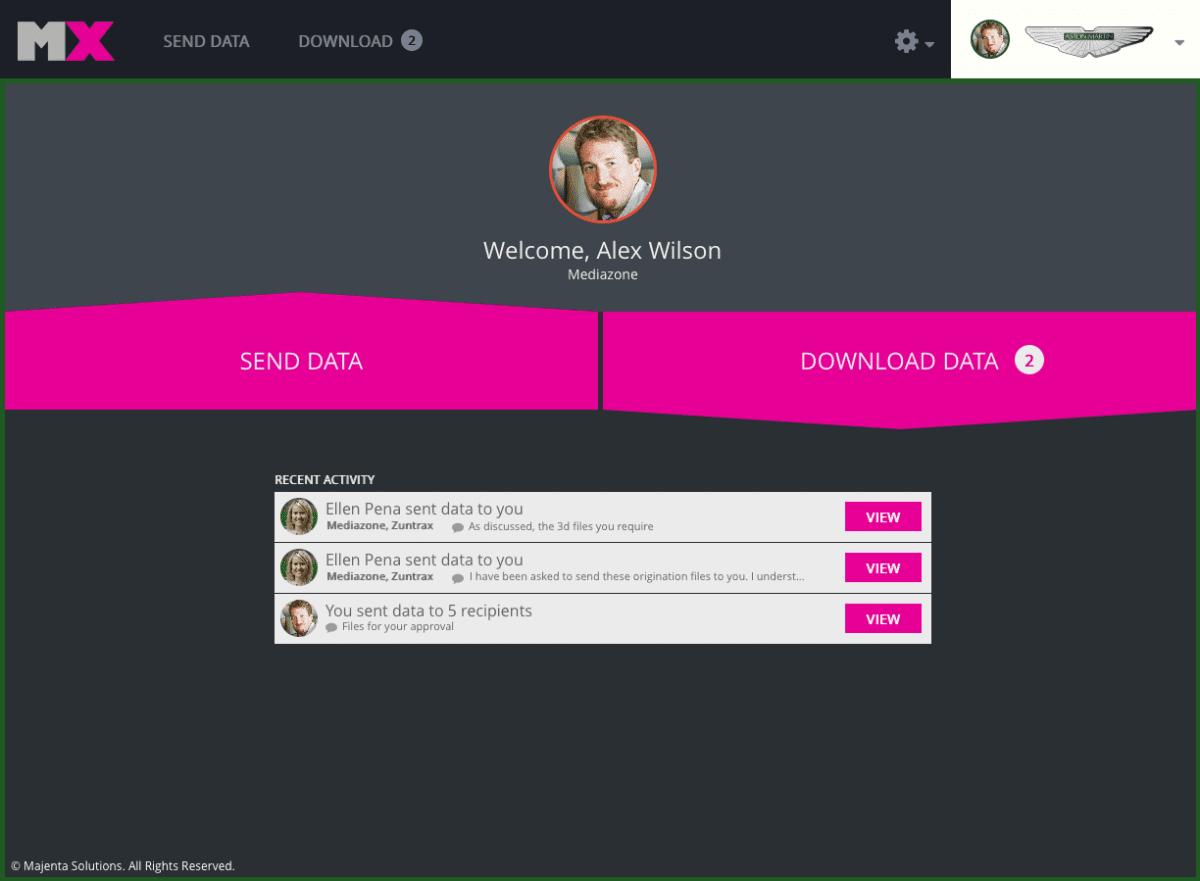 Majenta MX interface design